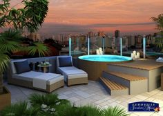 on the terrace terrasse Rooftop Terrace Design, Rooftop Patio, Terrace Garden, Patio Roof, Backyard Patio, Jacuzzi Outdoor, Roof Styles, Small Pools, Outdoor Living