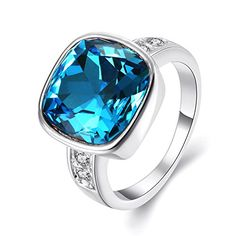 Kalapure Rhinestone Blue Cushioncut Cubic Zirconia Romantic Ring 6 silverplatedbase -- Learn more by visiting the image link.