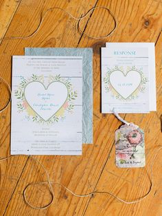 heart wedding invitations - photo by Rachel Havel http://ruffledblog.com/woodland-park-wedding