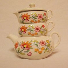Vintage Old Foley Stack Tea Set Floral Fantasy Pattern James Kent Ltd Staffordshire England.