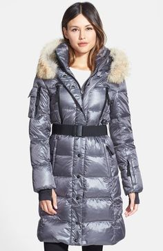 S13/NYC SAM. 'Infinity' Belted Long Goose Down Coat with Removable Genuine Coyote Fur Trim available at #Nordstrom