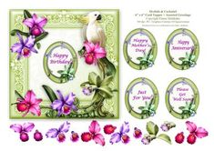 Orchids Cockatiel 6 x 6 Card Topper Decoupage Greeti on Craftsuprint designed by Elaine Sheldrake - This pretty Orchid and Cockatiel card topper comes with floral decoupage and a selection of greetings which are as follows:Happy Birthday!Happy Mother's Day!,Happy Anniversary!Please Get Well Soon!Just For You!Ideal for a quick card front, easel cards and plate cards. It can easily be made smaller by simply using your printer's software. Happy Card making Everyone! - Now available for…