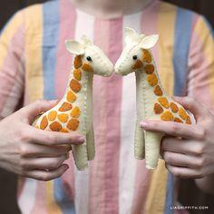 Handsewn Felt Giraffes