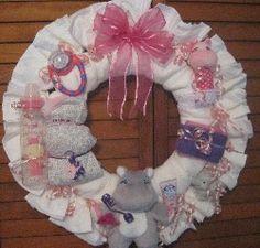 Heartstrings Creations - Baby Girl Diaper Wreaths - I Am a Hippo