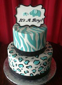 Zebra and chetah pattern baby shower cake Liu Curry Baby Cakes, Baby Shower Cakes, Cupcake Cookies, Cupcakes, Cookie Ideas, Baby Patterns, Birthday Cakes, Baby Showers, Baby Shower