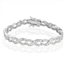 Bling Jewelry Infinity Figure Eight CZ Tennis Bracelet 925 Sterling Silver 7.5in