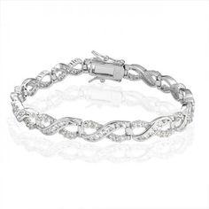 Figure Eight CZ Infinity Tennis Bracelet 925 Sterling Silver 7.5in