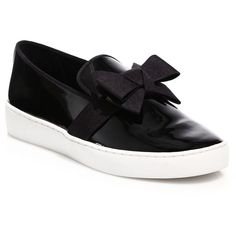 Michael Kors Collection Val Bow Patent Leather Skate Sneakers ($290) ❤ liked on Polyvore featuring shoes, sneakers, apparel & accessories, black, platform sneakers, black sneakers, black shoes, black patent leather sneakers and michael kors trainers