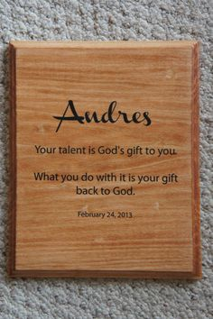 Personalized God's Gift  Baptism gift Name & by Frameyourstory, $24.95 Apostles Creed, Wood Plaques, Niece And Nephew, Childrens Gifts, Baptism Gifts, Personalized Signs, Diy Crafts For Kids, Pictures To Paint, Custom Items