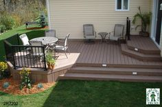 small deck designs | deck plan is for a medium size, two level, mid-height deck. The small ...