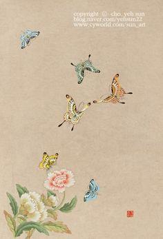 초급 과정의 화접도 작품입니다. 같은 꽃으로 다양한 배치와 채색으로 완성한 작품입니다. 초급답지않은 완... Art Painting, Japanese Art, Whimsical Illustration, Drawings, Korean Art, Flower Art, Plant Drawing, Traditional Paintings, Fabric Art