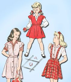 "Advance Pattern 4501 Girl's Skirt, Blouse and Jumper Pattern Great for School Clothes Dated 1947 Complete Nice Condition 15 of 15 Pieces Unprinted Pattern Pieces Counted. Verified. Guaranteed. Size 8 (26"" Bust)"