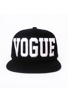 aa3a394c1f3 Patricia Field VOGUE snap back cap. Black adjustable flat brim baseball cap  with raised white embroidery on front. Patricia Field signature logo  embroidered ...