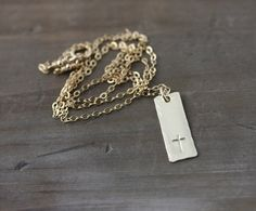 Gold Cross Necklace Hand Stamped Personalized Jewelry by true2u