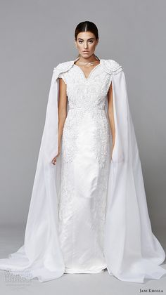 jani khosla 2015 bridal evening dress v neck cap sleeves embroidered white sheath gown with cape fantasique