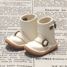 Real leather: miniature Engineer boots [WHITE] (for blythe)