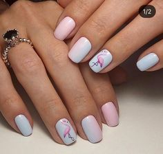 flamingo nail art ideas 00011 in 2020 Cute Acrylic Nails, Cute Nails, Pretty Nails, Pink Manicure, Bling Nails, Art Tropical, California Nails, Flamingo Nails, Dream Nails