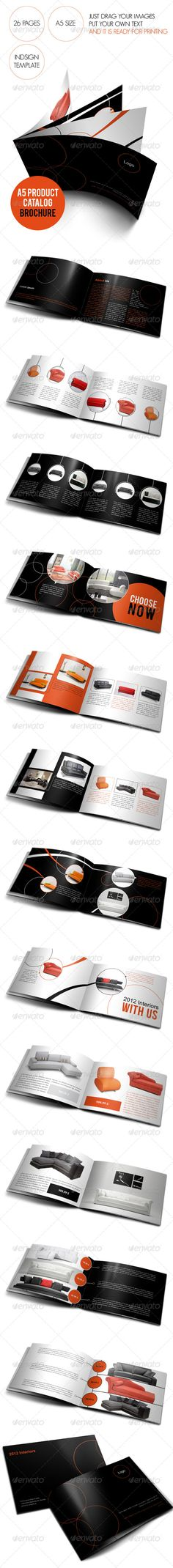 A5 Product Catalog \ Brochure  #GraphicRiver        Compatibility:       Adobe indesign cs5, cs4  Content:       Adobe 26 Fully editable pages      Extremly easy to change or remove images      Fully layered      300 DPI ready for printing      All images are just for preview purpose and are not inclued in the main files  Font Used:   Geosanslight  Bebas  Utsaah  Shonar Bangla  	 Please Rate!!      Created: 10July13 GraphicsFilesIncluded: InDesignINDD Layered: