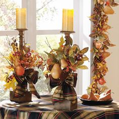 Fall thanksgiving decor - Thanksgiving Candle Displays Ideas And Placements – Fall thanksgiving decor Harvest Decorations, Thanksgiving Decorations, Halloween Decorations, Holiday Decor, Thanksgiving Table, Candle Decorations, Vintage Thanksgiving, Fall Arrangements, Autumn Decorating