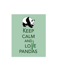 Keep Calm and Love Pandas on Bamboo Green Art 8 X 10 Print I Love Pandas China Panda Lover Home Decor Cute Wild Animal Gift Bear via Etsy