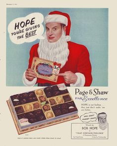 Bob Hope prefers Page & Shaw Chocolates in 1956