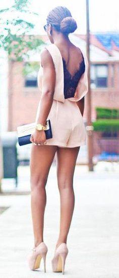 #street #style peach romper + lace @wachabuy