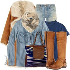 """""""Denim Shirt, Boots and Jeans"""" by lbite1 on Polyvore"""