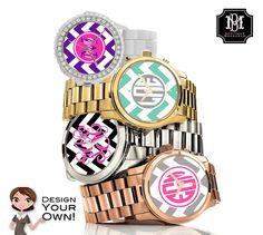 Monogrammed Watch Personalized Watch Custom by BoutiqueMonogram