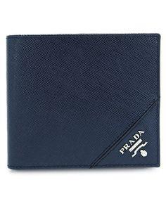 PRADA Men'S Saffiano Leather Bifold Wallet Black'. #prada #wallets