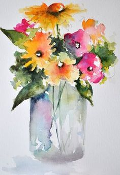 ORIGINAL Watercolor Painting Still Life Floral by ArtCornerShop #watercolorarts