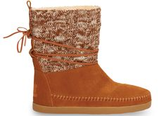 undefined Chestnut Cable Knit Suede Women's Nepal Boots