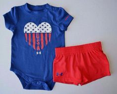 f766b3bc7fbe Baby Girl Under Armour Patriotic Bodysuit and Shorts 2-Piece Set USA 4th Of  July