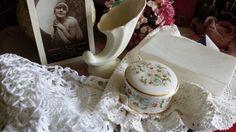 New to NostalgiqueBoutique on Etsy: 2 Vintage Crochet Table Doilies and Pretty Ceramic Pot & Small Spodes Stem Vase (9.00 GBP)