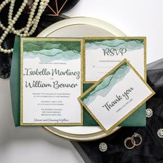 This uinque emerald green wedding invitation has gold shimmer backer and edge. Pocket on the side is practical to hold cards, you don't have to worry about them missing. Ombre watercolor reminds you of woodland forest or sea wave. Original Wedding Invitations, Affordable Wedding Invitations, Pocket Wedding Invitations, Watercolor Wedding Invitations, Wedding Invitation Templates, Wedding Stationary, Invites, Engagement Invitation Cards, Emerald Green Weddings