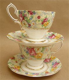 Pair of Royal Albert Teacups and Saucers in a Rose by YBINUCAROL