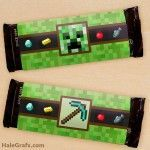 FREE Printable Minecraft Candy Bar Wrappers Posted in Printables By Kevin Hale On February 2016 Chocolate Bar Wrappers, Candy Bar Wrappers, Minecraft Cupcake Toppers, Minecraft Birthday Party, Birthday Ideas, Kids Party Decorations, Party Ideas, Printable Letters, Printable Tags