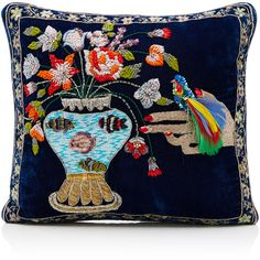 Ines Figaredo      Hand Embroidered Cushion Bag (12.675 DKK) ❤ liked on Polyvore featuring bags, handbags, navy, navy blue purse, velvet bag, feather handbag, embroidered purse and navy blue bag
