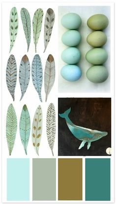 Color pallet- cool and refreshing but cozy and inviting
