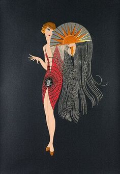 Vintage Poster - Erte 'Flapper': deco-style simplicity, emphasis on shapes - and a beautiful fan.