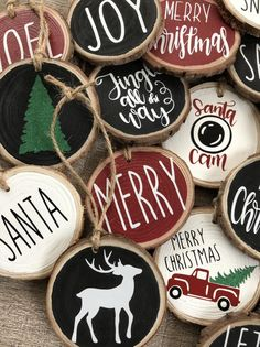Wood Slice Ornaments Etsy Happy New Year Wooden Christmas Ornaments, Homemade Christmas, Rustic Christmas, Christmas Crafts, Christmas Decorations, Diy Ornaments, Homemade Ornaments, Christmas Decoupage, Dough Ornaments