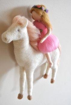 Baby Mobile Waldorf inspired needle felted : The Girl door MagicWool