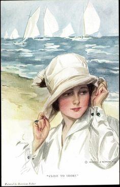 Künstler Ak Harrison Fisher, Close to Shore, Frau am Strand | akpool.co.uk