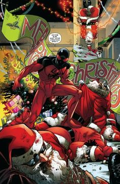 I'm sorry Scarlet Spider beating up evil santas is always hilarious