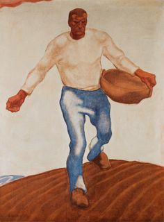 'The Sower.' Painting by Albin Egger-Lienz Oil Painting Gallery, Painting Prints, Tempera, European Paintings, Oil Painting Reproductions, Selling Art, Famous Artists, Artist Art, Figurative Art