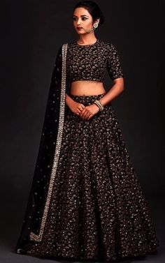 Black color traditional wedding wear lehenga choli for bride. Heavy sequence embroidered work making this Indian lehenga more gorgeous and best suits for special occasions. Indian Lehenga, Raw Silk Lehenga, Black Lehenga, Heavy Lehenga, Lehenga Choli Designs, Lehenga Choli Online, Sarees Online, Indian Bridal Fashion, Indian Wedding Outfits