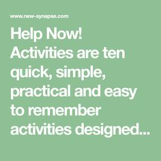 Help Now! Activitiesare ten quick, simple, practical and easy to remember activities designed to get you back into the Resilient Zone if you need help now! because you're either too amped up (high zone) or too checked out (low zone). This helpful set of resiliency building strategies is taught in Community Resiliency Model (CRM) trainings.…