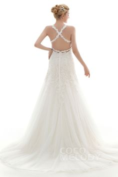 Latest A-Line Straps Natural Court Train Lace and Tulle Ivory/Champagne Sleeveless Criss-Cross Wedding Dress with Appliques and Beading CWAF16003 #weddingdresses #cocomelody #custom dresses