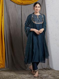 Teal Blue Embroidered Chanderi Silk Kurta with Cotton Silk Pants and Chiffon Dupatta- Set of 3 Silk Kurti Designs, Kurta Designs Women, Salwar Designs, Kurti Designs Party Wear, Pakistani Fashion Casual, Pakistani Dresses Casual, Pakistani Dress Design, Punjabi Fashion, Dress Neck Designs