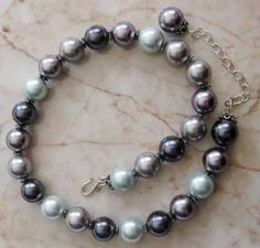 Grey Cream Blue 16mm Pearls Necklace Wedding Bridal Mother of th