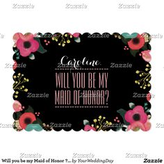 Will you be my Maid of Honor? Modern Watercolor Flower Painting Design Personalized Maid of Honor to be request Flat Invitation Cards. Customize the name, date , text and all details of your Invitations. Matching Wedding Party Invitations, Bridal Shower Invitations, Save the Date Cards, Wedding Postage Stamps, Bridesmaid to be Request Cards, Thank You Cards and other Wedding Stationery and Wedding Favors and Gifts available in the Modern Design Category of the yourweddingday store at…